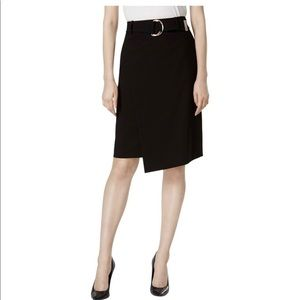 Calvin Klein Lux Belted Faux-Wrap Pencil Skirt